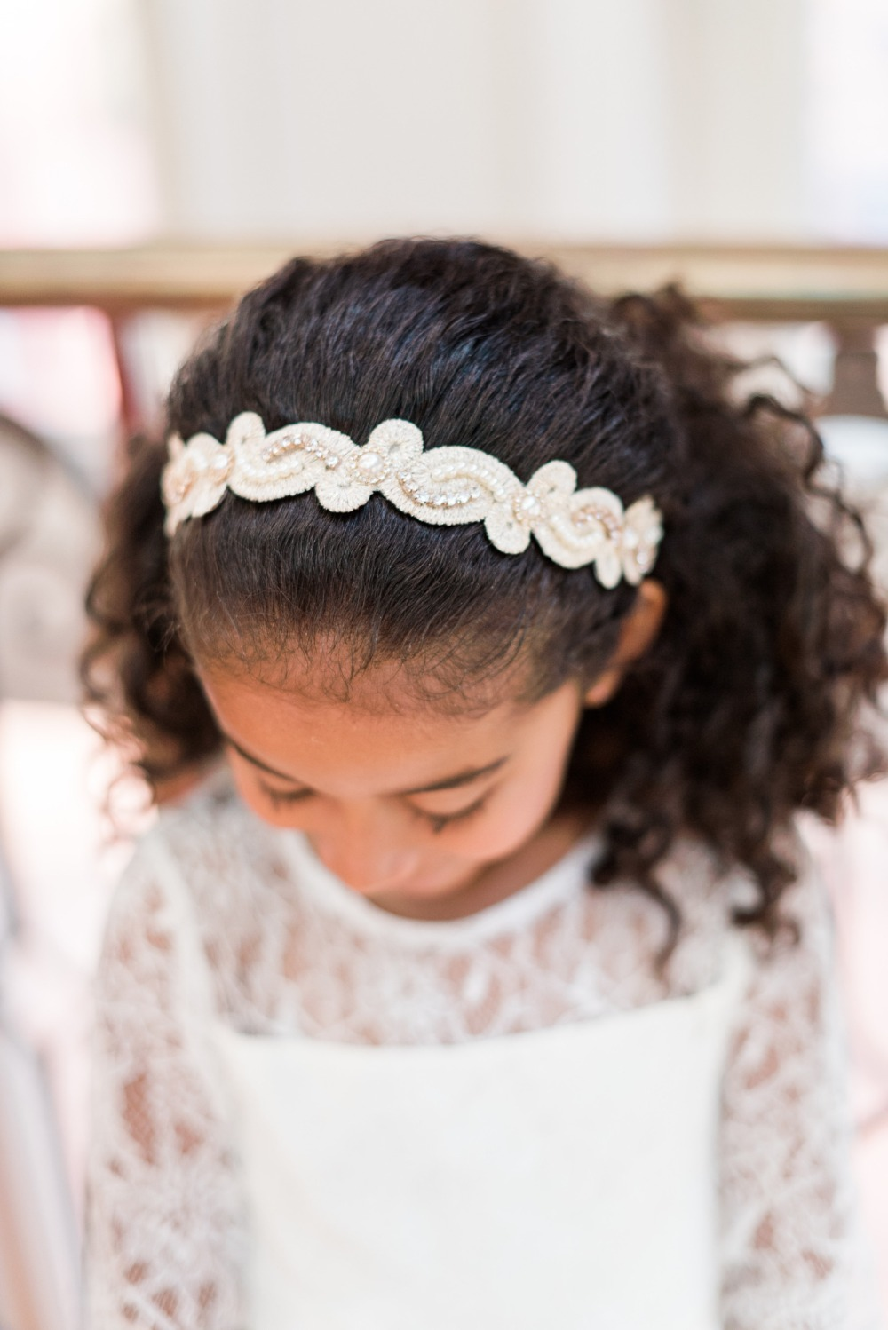vintage style headband for the flower girl
