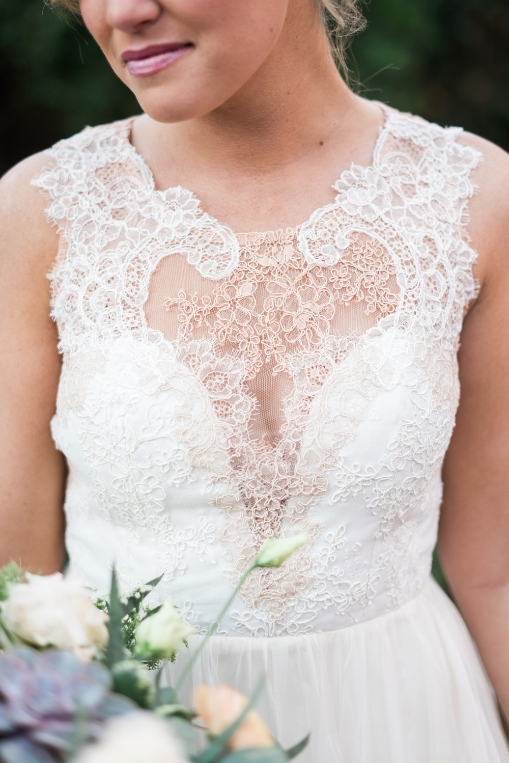 lace detailing on vintage style wedding dress