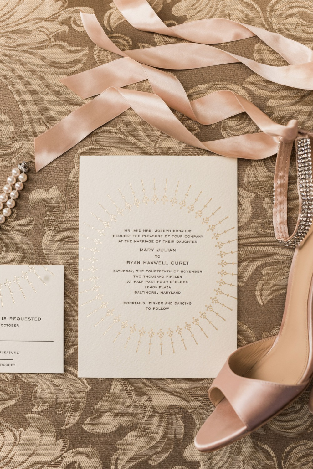 gold embossed art decor wedding invitations
