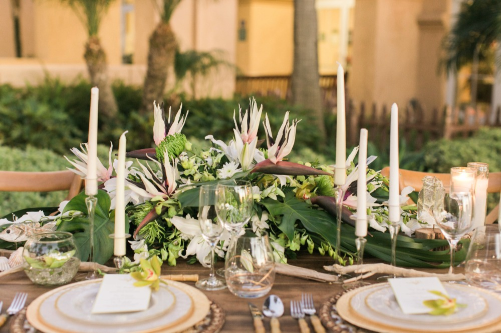 Birds of paradise reception table centerpiece