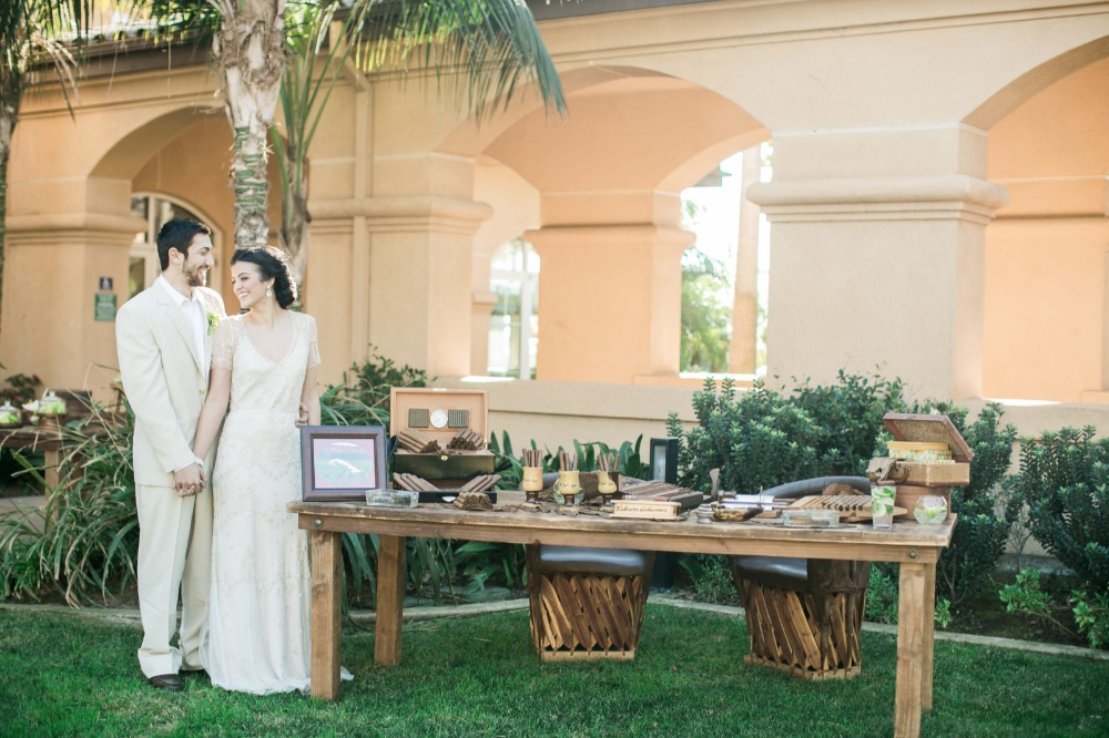 Hand rolled cigar station for wedding
