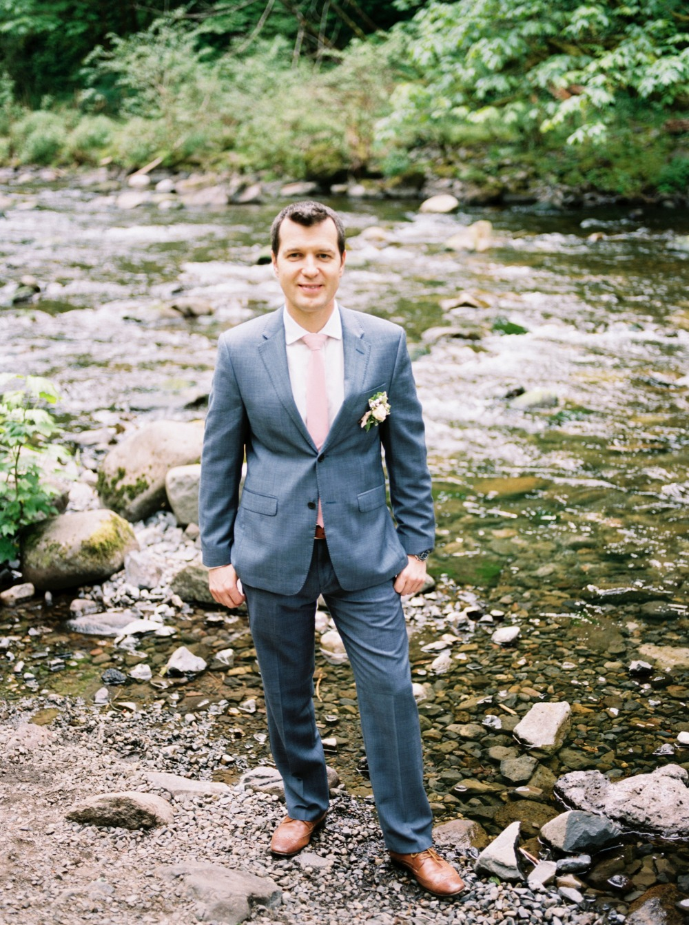 Dapper groom in grey and blush