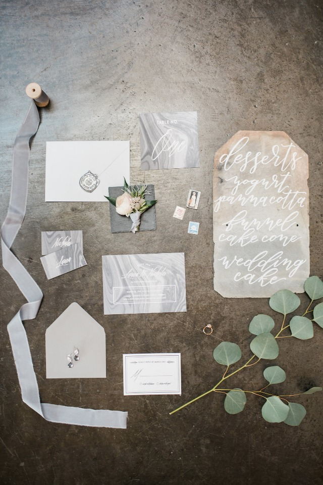modern grey and white marble wedding stationery