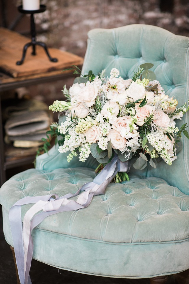 blush and white wedding bouquet with cascading grey ribbons