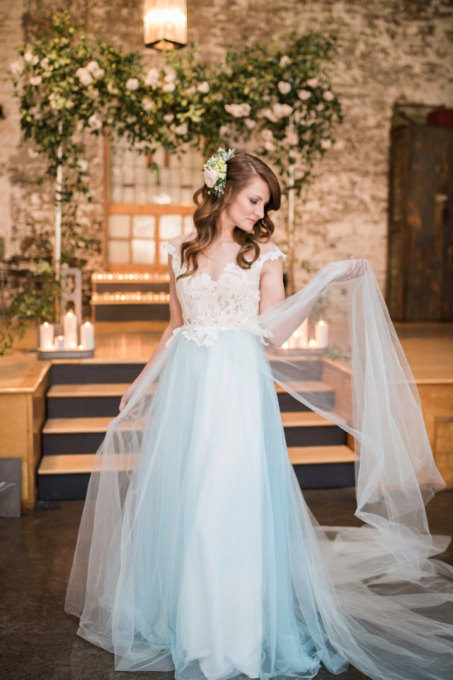 soft blue tulle wedding dress from Dream & Dress