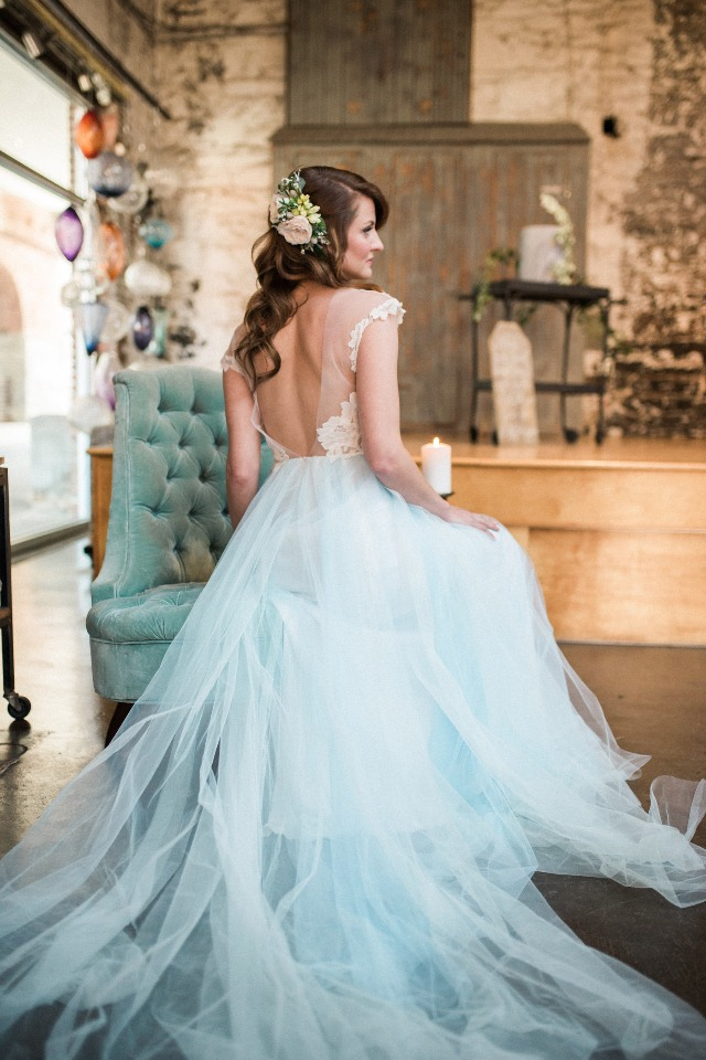 soft blue tulle skirt wedding dress