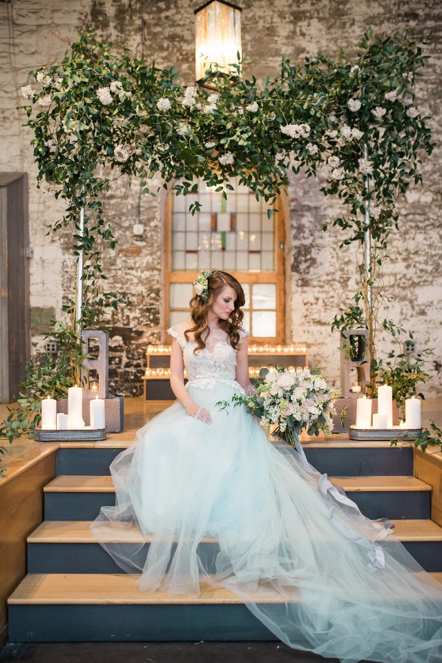 romantic and modern ceremony backdrop