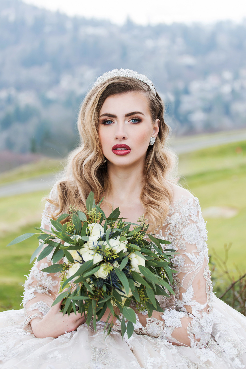 stunning bridal hair and makeup with simple bouquet