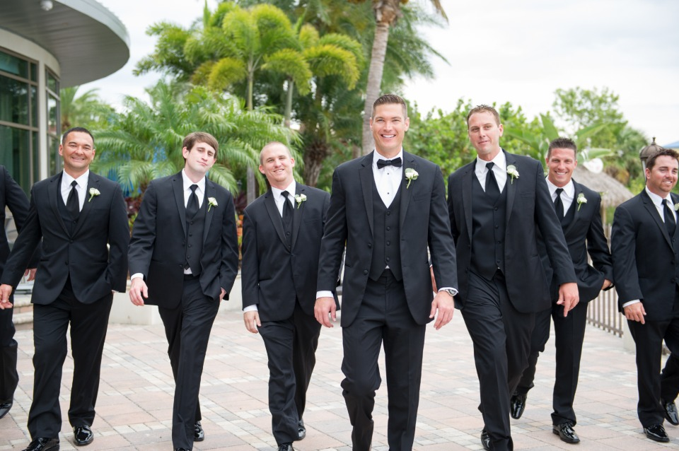 groomsmen in classic black and white