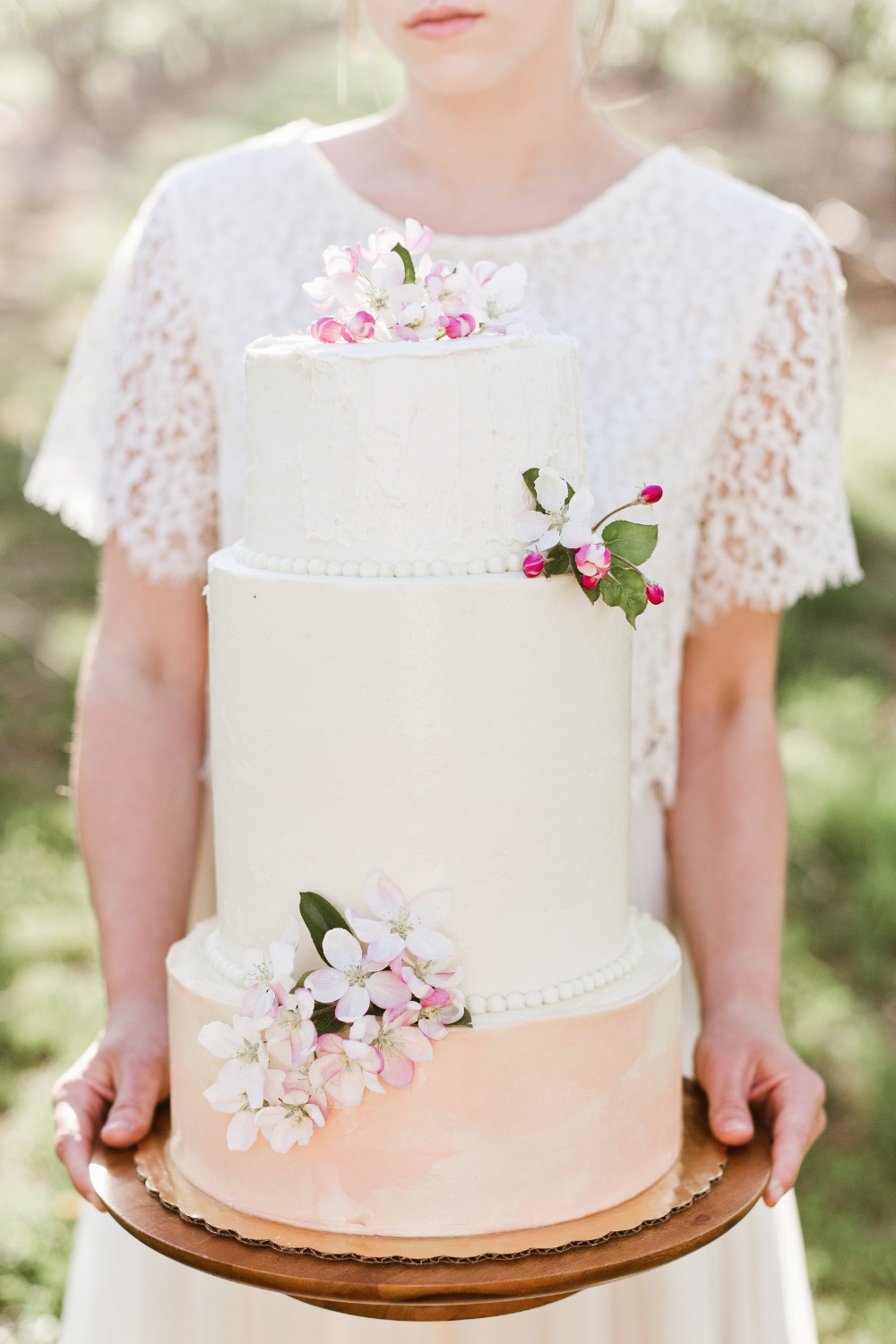 spring inspired pink and white wedding cake