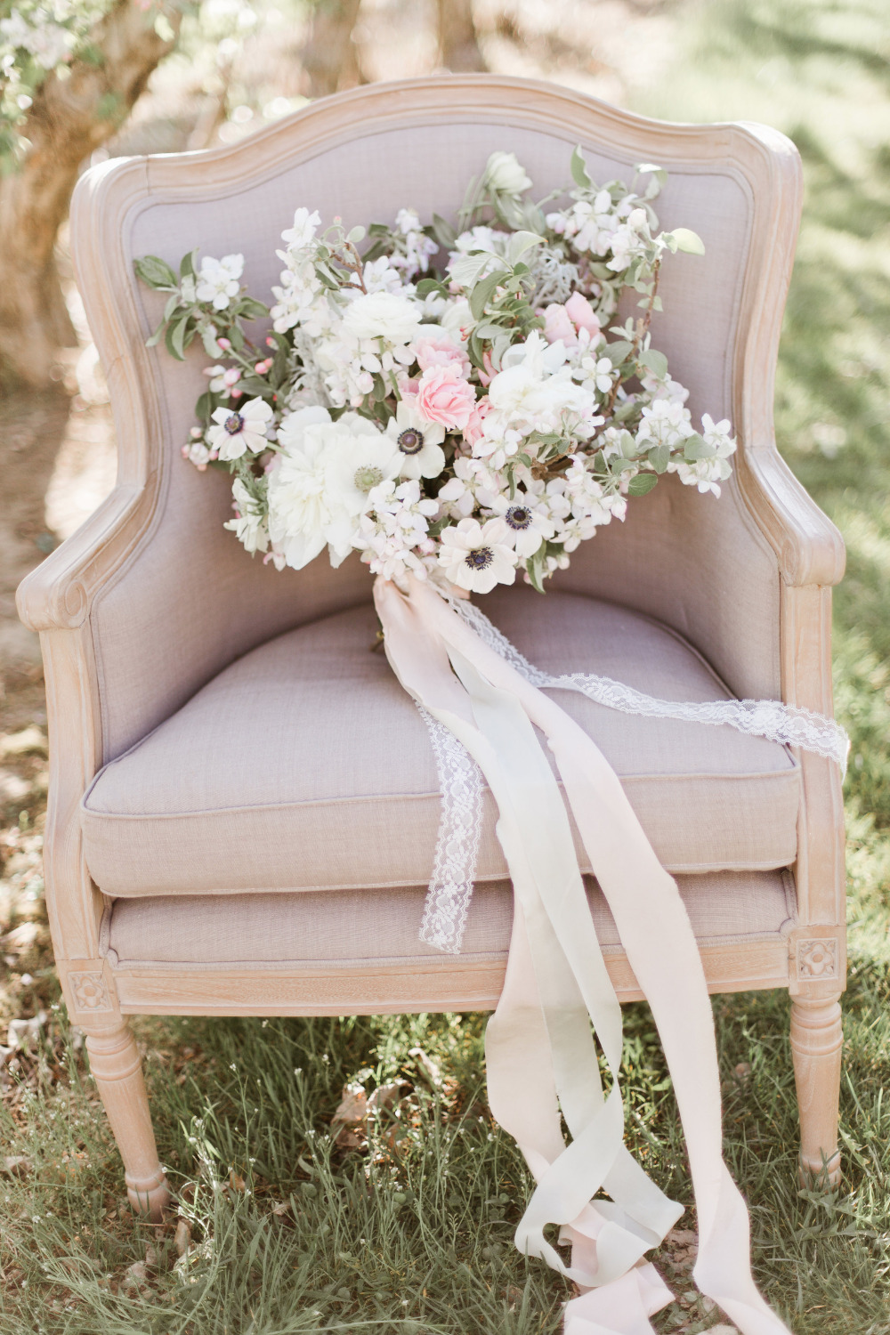 wedding bouquet with apple blossoms and roses