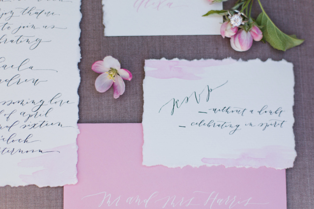 pink watercolor wash wedding stationery