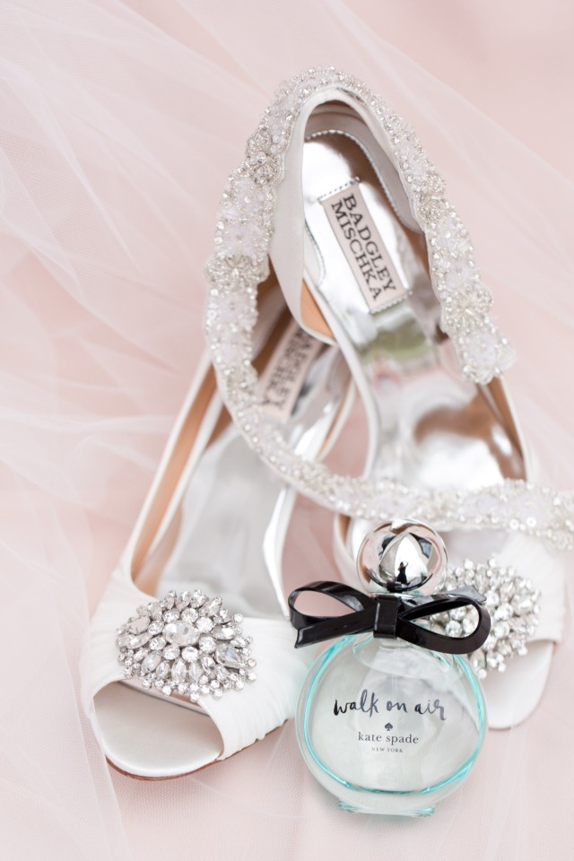 white Badgley Mischka wedding shoes and Kate Spade perfume