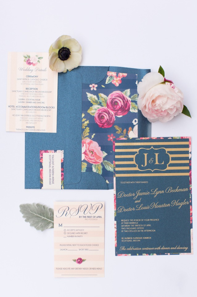 navy and floral themed wedding stationery