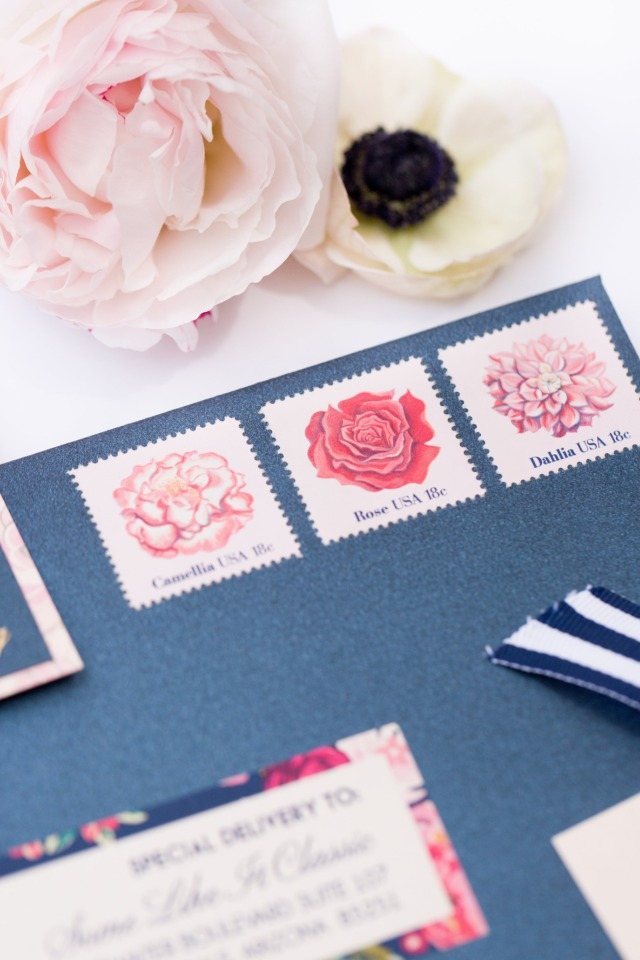 cute pink flower stamps to match the invitations