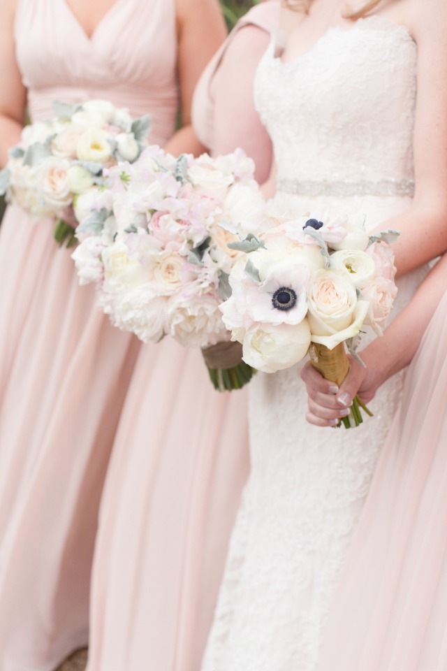 blush ivory and white bridesmaid bouquets
