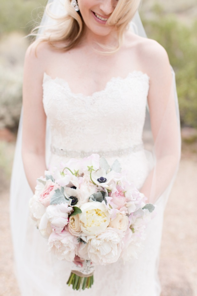 soft pink ivory and white wedding bouquet