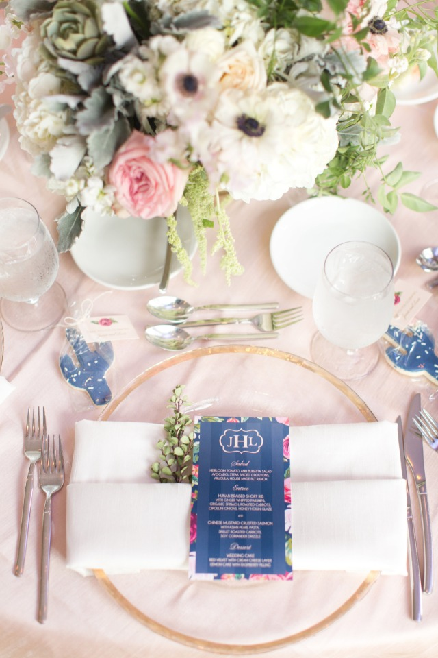 formal place setting and reception menu