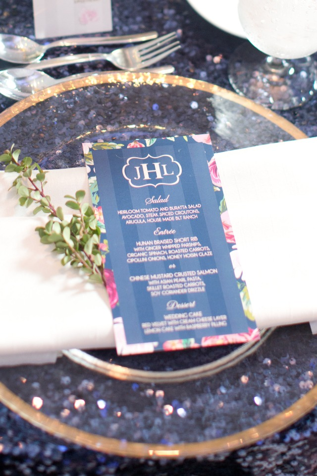 gold and navy wedding table