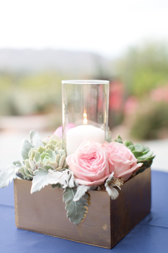 Navy gold and pink desert wedding