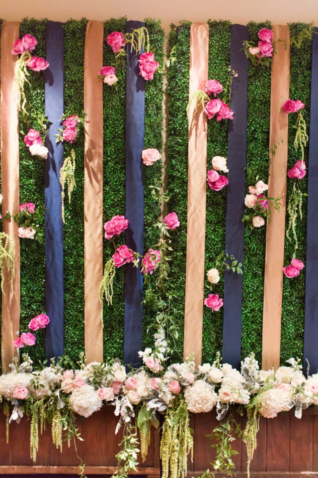 ribbon and flower wall photo booth backdrop