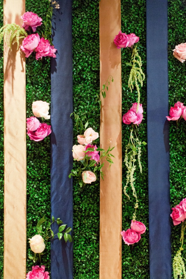 fresh flower and ribbon backdrop