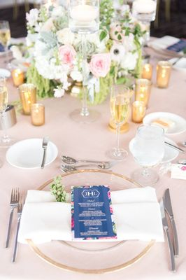 Navy, Gold and Pink Desert Wedding