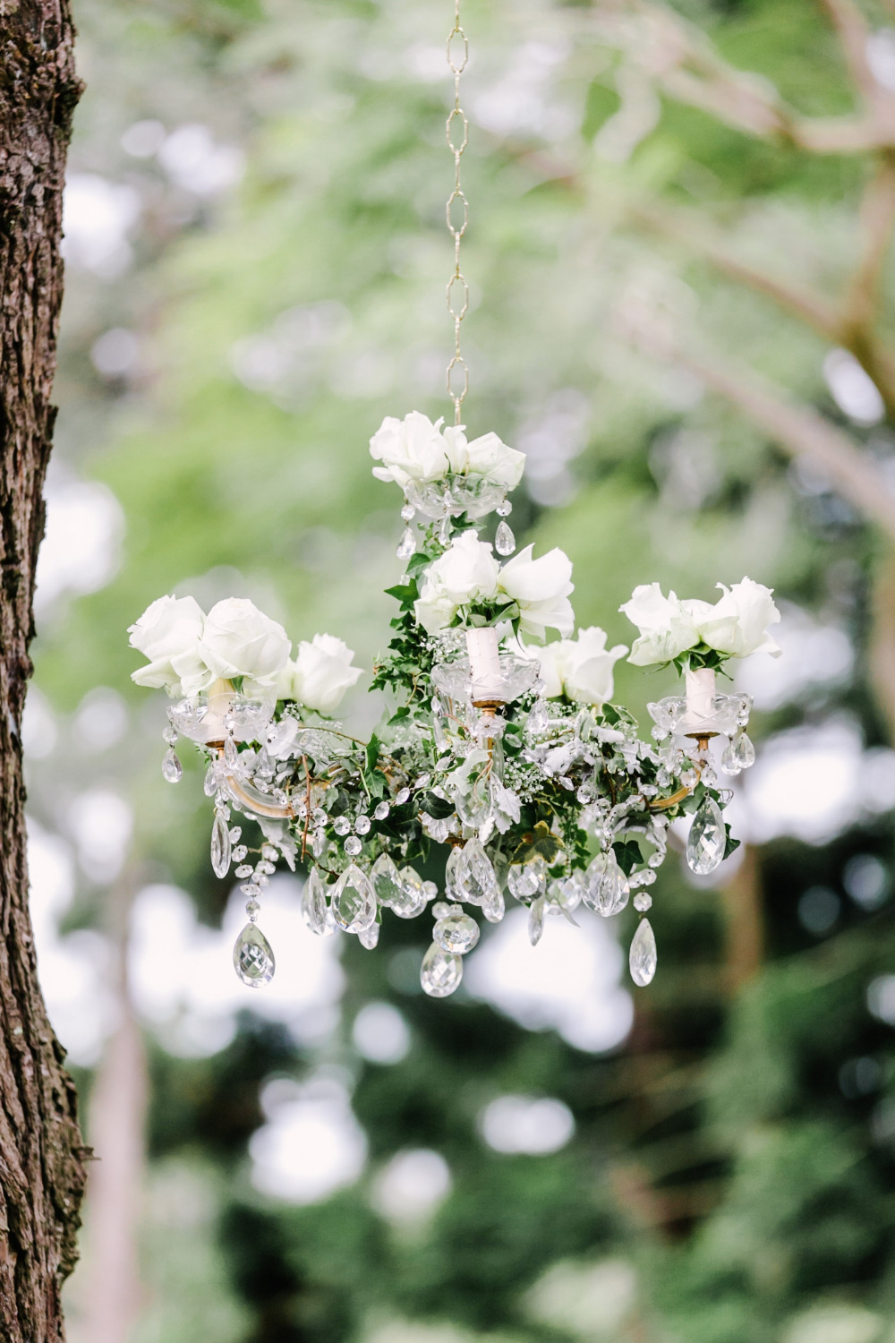 crystal and rose wedding chandelier