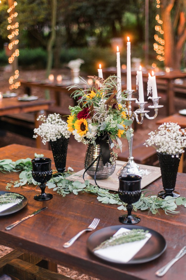alt boho chic wedding table decor