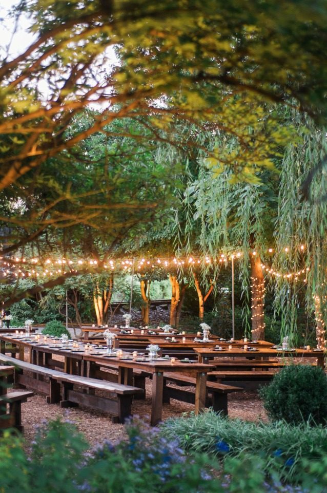 glowing outdoor wedding reception