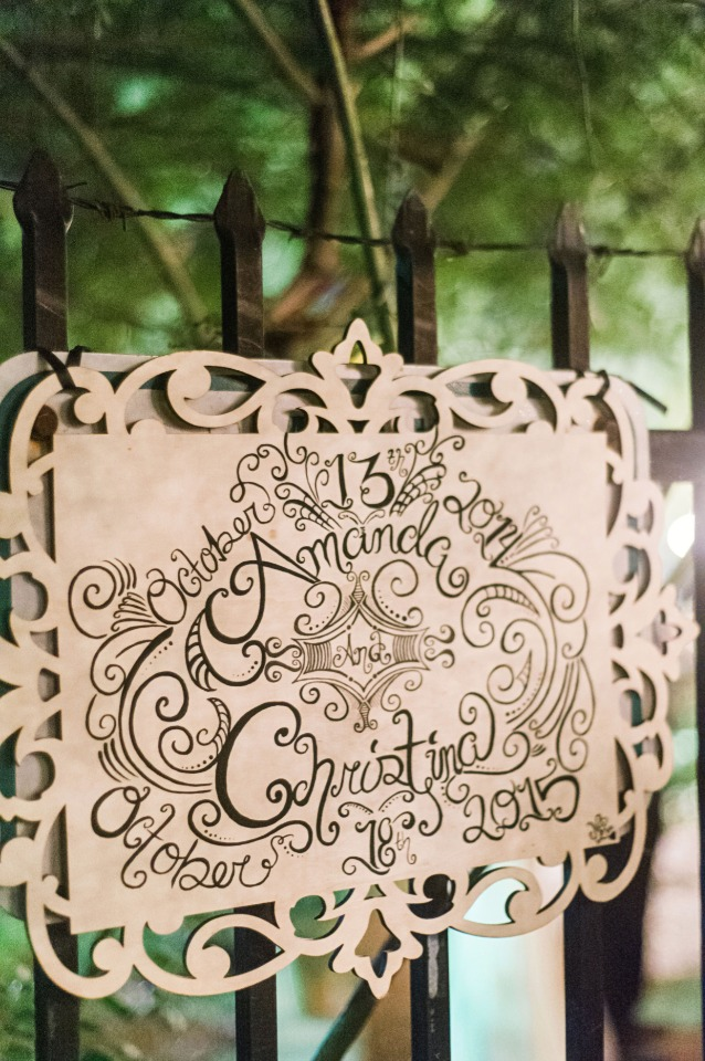 laser cut wedding sign with wedding dates