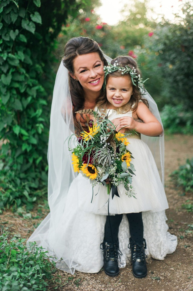 bride and her daughter the flower girl