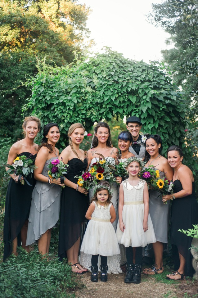 grey and black wedding party