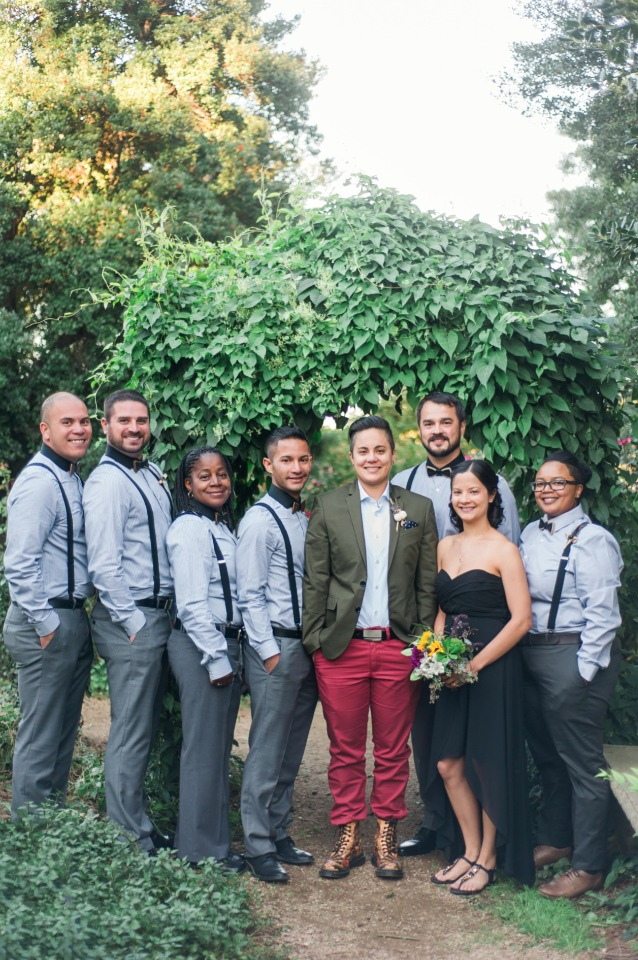 wedding party in suspenders and bow ties