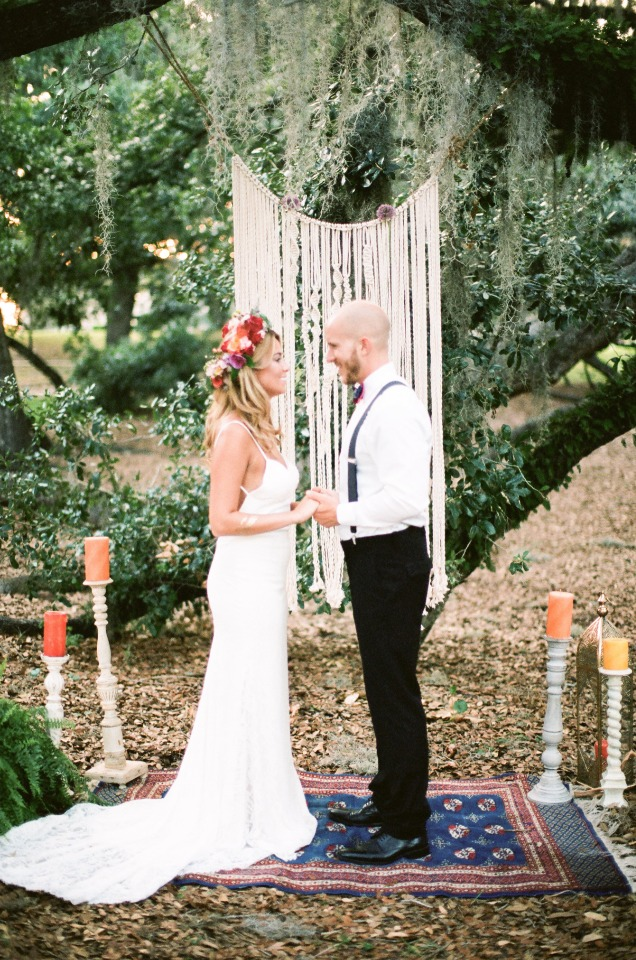 indie boho chic wedding ceremony idea