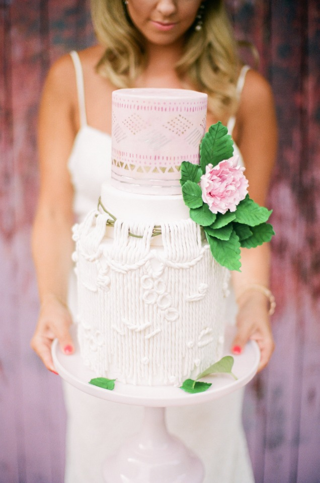 unique indie style wedding cake in pink ombre