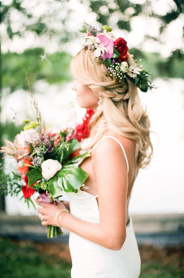 bohemian bridal style with flower halo and tropical bouquet