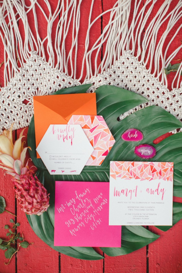 funky brightly colored wedding inviations