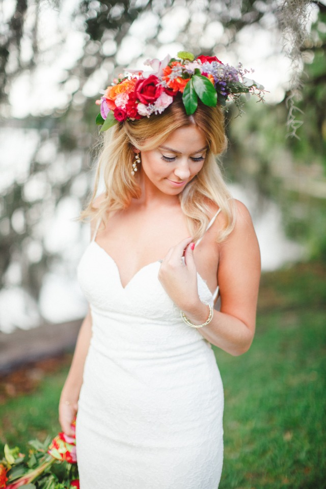 tropical wedding flower halo
