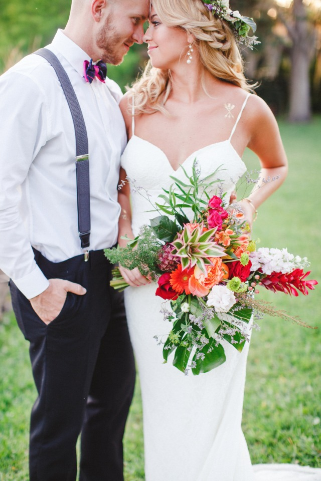 brightly colored tropical wedding bouquet