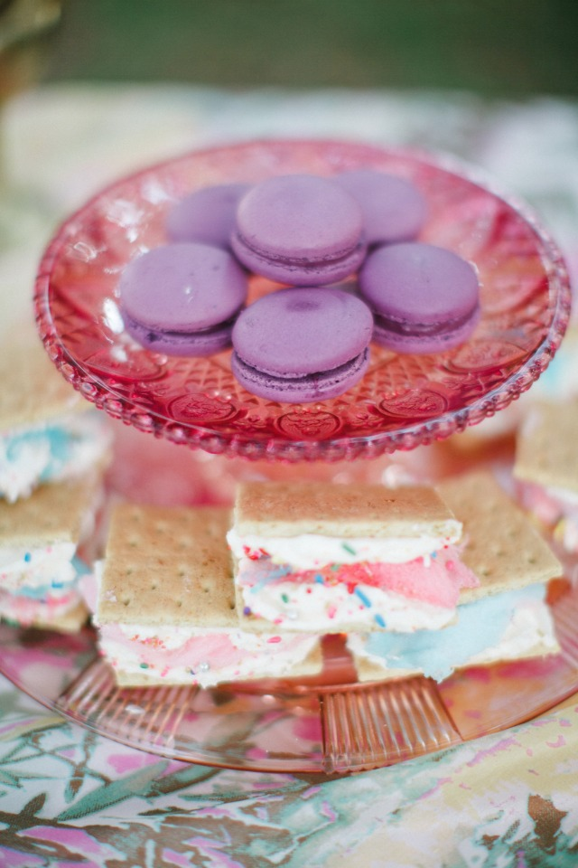 macarons and colorful ice cream sandwiches