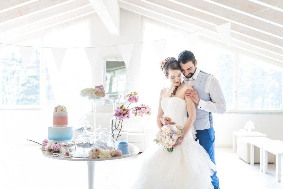 sweet pink blue and white dessert table
