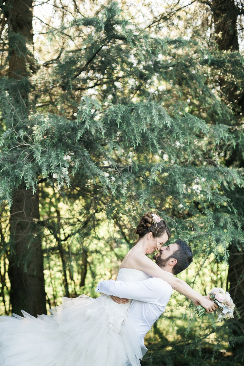 cute wedding photo of newlyweds in love