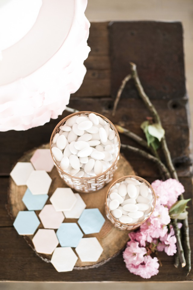 pink, white and blue hexagon cookies