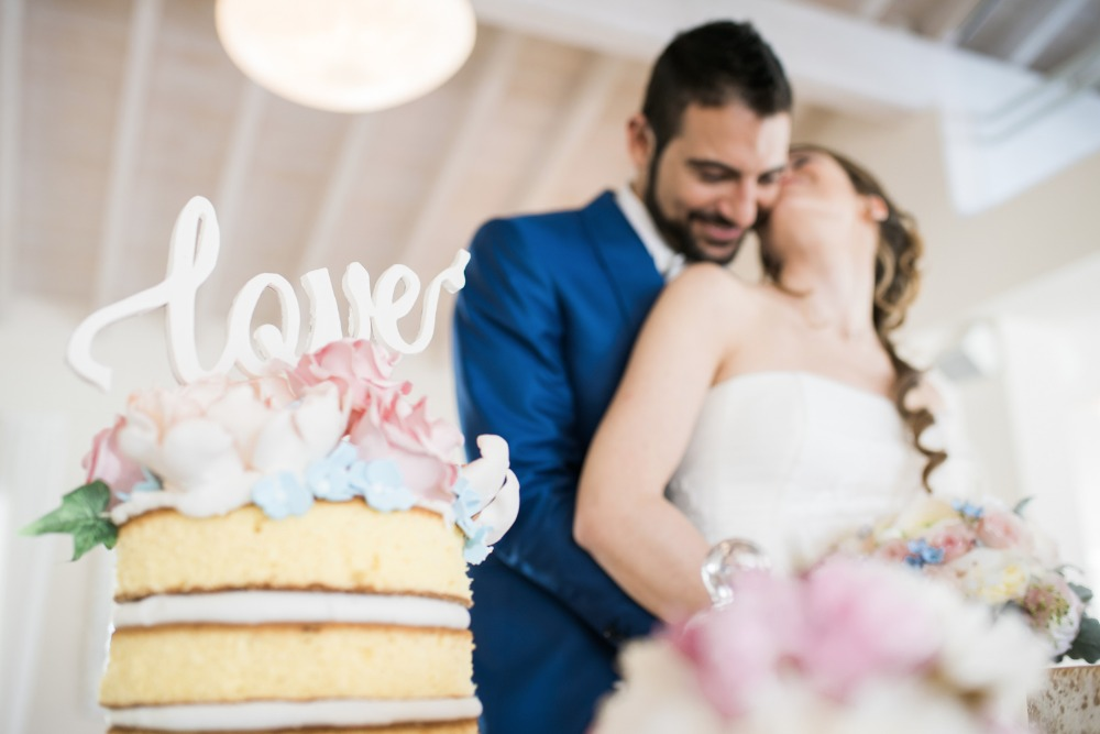 cute little naked cake with LOVE topper
