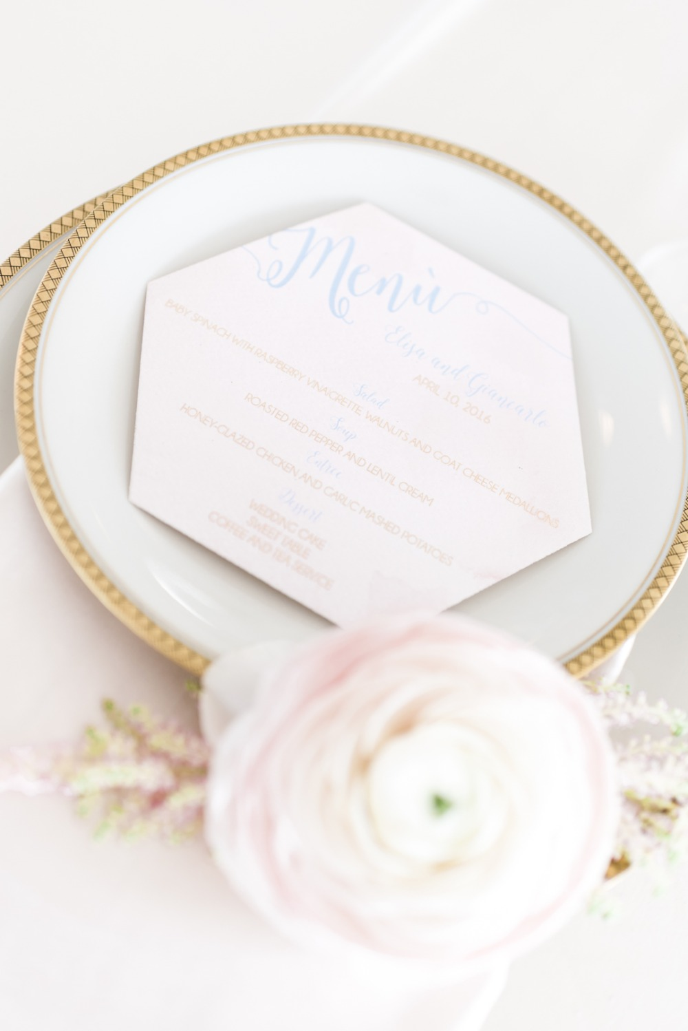 hexagon wedding menu