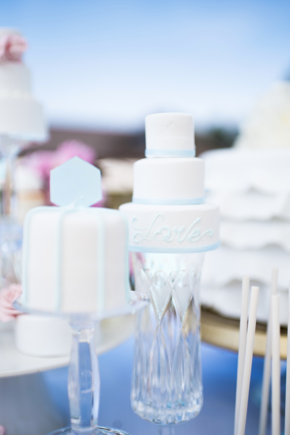 light blue and white wedding cakes