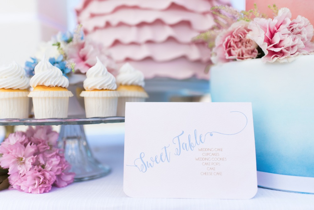 sweet table sign in pink and blue