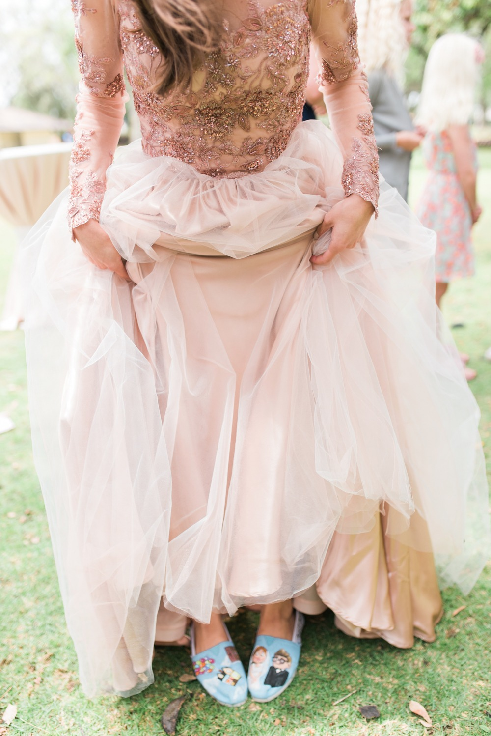 Blush gown and Disney wedding shoes