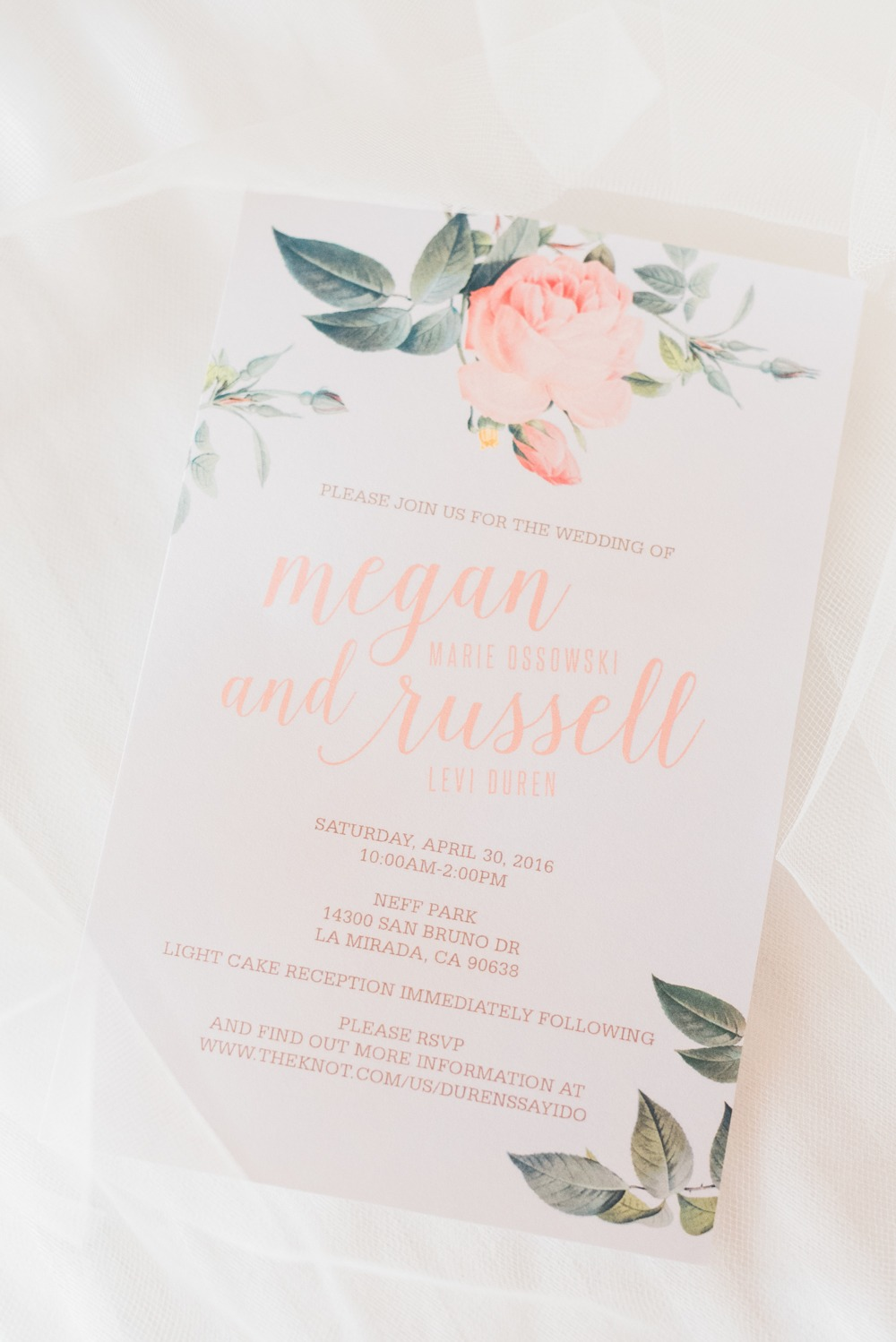 Pretty wedding paper in peach